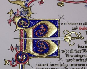 Close up of initial capital 'B'